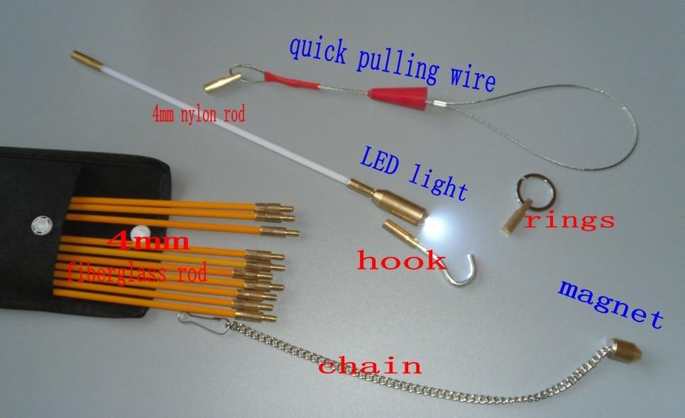 Asta di spinta push pull in fibra di vetro da 4,5 mm 100 metri con - Set di attrezzi - Fotografia 3
