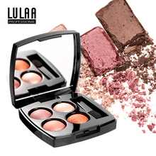 LULAA 4 Colors Glitter EyeShadow Pallete Makeup Matte Shimmer and Shine Diamond Eyeshadow Powder Pigment Waterproof Cosmetics