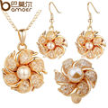 WOSTU  Gold Plated Bridal Jewelry Sets with Pearl and Crystal for Women Anniversary Hot Sell SD010