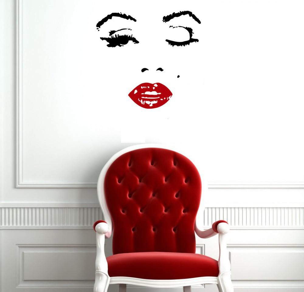 110x90cm hot red clip marilyn monroe vinyl decal home. Black Bedroom Furniture Sets. Home Design Ideas