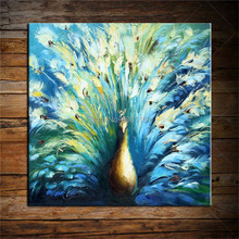 Hand Painted abstract blue peacock Painting Beautiful bird Wall Art square Modern Home Decoration Oil on Canvas gift