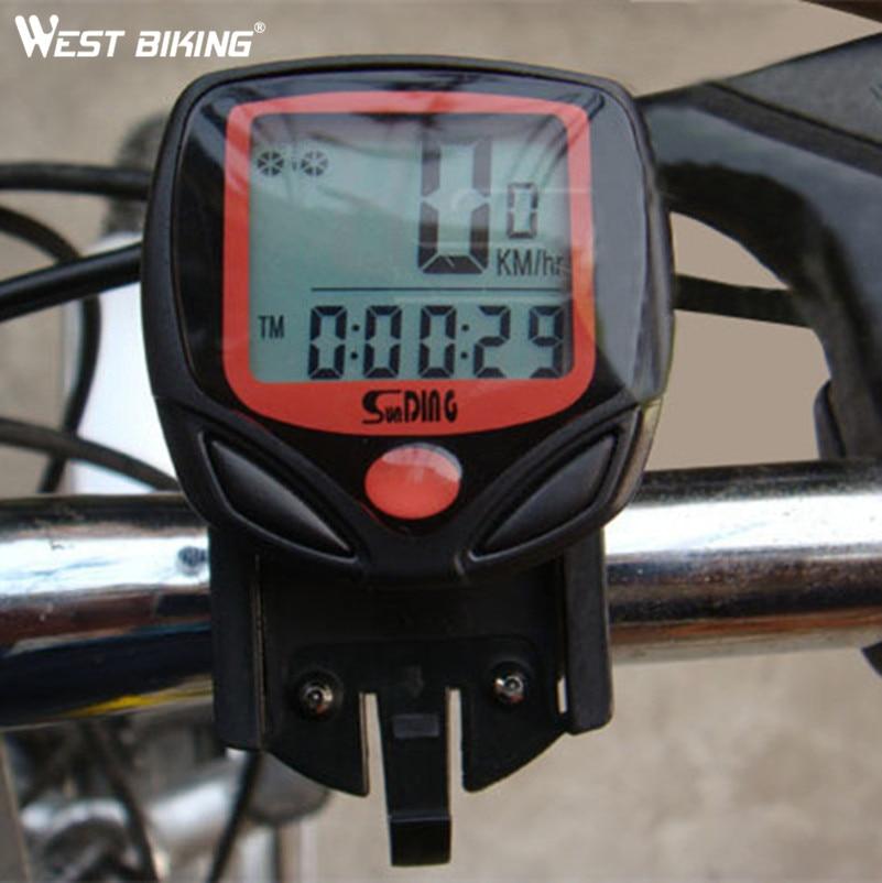 WEST BIKING Cycling Computer 14 Functions Waterproof Odometer Speedometer LCD Display Bike Speedometer Bike Cycling Computer 1 lcd water resistant bike computer odometer speedometer black red 1 x cr2032