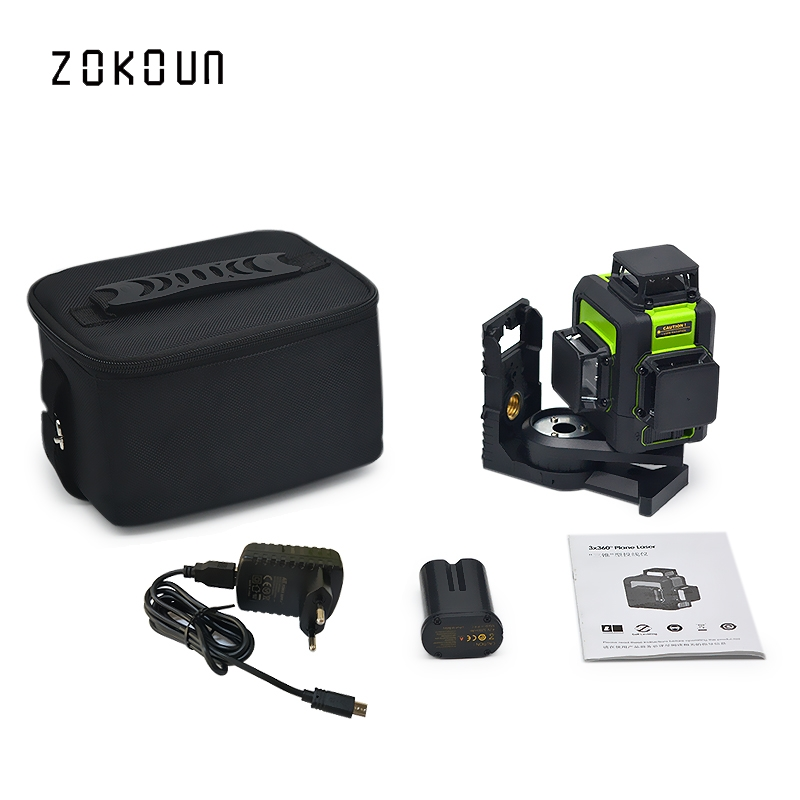 купить Zokoun 3 x 360 3D green beam Lines Laser Level with 5200mah LITHIUM BATTERY and Horizontal And Vertical Lines Working Separately онлайн