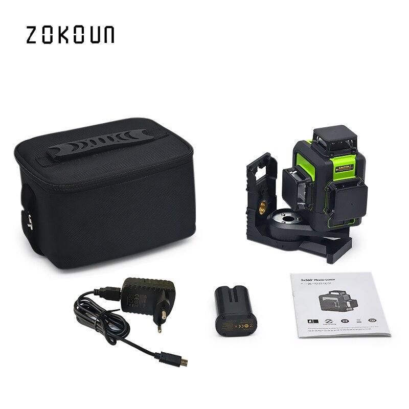 Zokoun 3x360 3D vert faisceau haute performance qualifié tilt fonctionnelle lignes niveau laser avec batterie au lithium et support