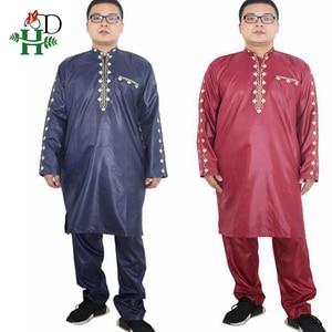 Image 5 - H & D Afrikaanse Jurken Voor Mannen Dashiki Mens Afrikaanse Kleding Bazin Outfit Mannelijke Tops Broek Past 2 Stuks Lange mouwen Shirt Plus Size