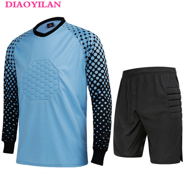 2016 dos homens Novos da Marca Conjuntos Uniformes de Goleiro Futebol  Goleiro Camisa de Futebol Terno 570ffa3704122