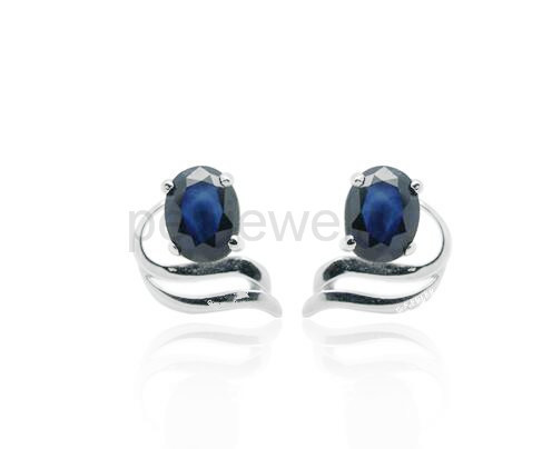 4e0b61df6 Origin blue sapphire stud earring Natural real sapphire 925 sterling silver  Free shipping 0.35ct*