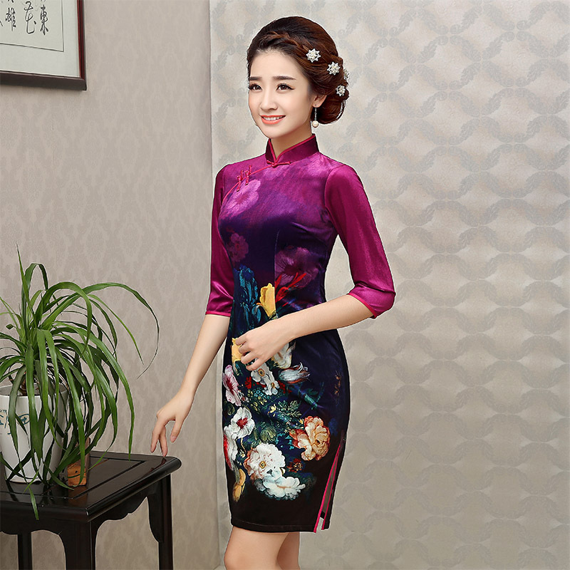 2018 Qipao Chinese Traditional Dress Black Red Blue Cheongsams Long Sleeve Velour Qipao Dresses Mujere Vestido
