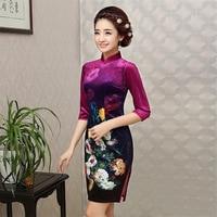 2018 Qipao Chinese Traditional Dress Black Red Blue Cheongsams Long Sleeve Velour Qipao Dresses Mujere Vestido Evening Dresses