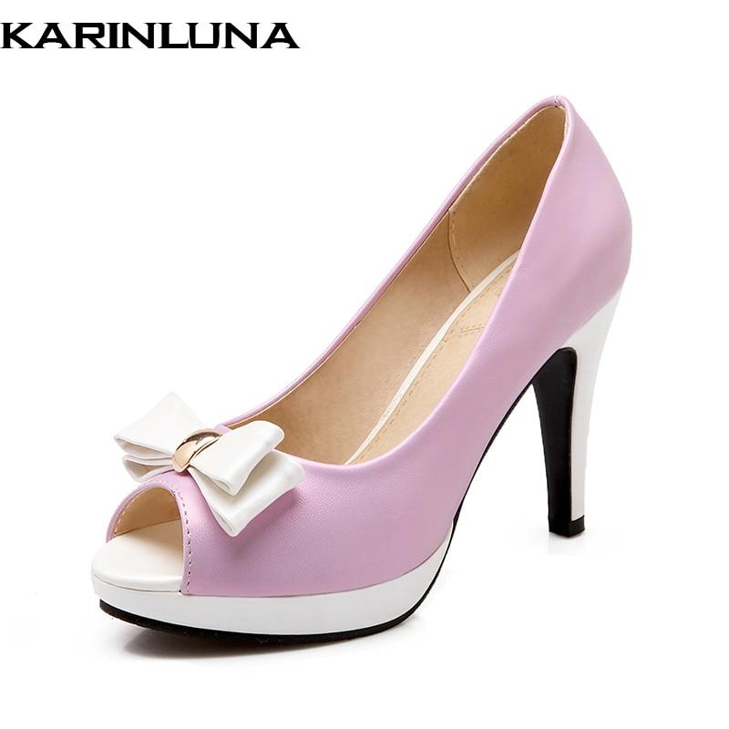 KARINLUNA Nova velika velikost 31-43 pomlad poletje visoke pete - Ženski čevlji
