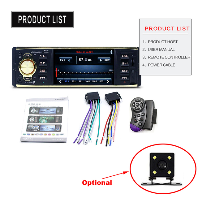 """Podofo 4"""" TFT Screen 1 Din Car Radio Audio Stereo MP3 Car Audio Player Bluetooth With Rearview Camera Remote Control USB FM"""