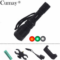Cumay Outdoor Hunting LED Flashlight 1 Mode White Green Red Light Long Distance Beam 18650 Battery Gun Mount Remote Switch