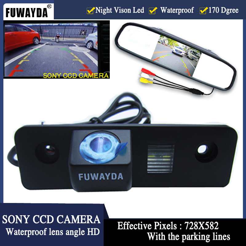 FUWAYDA SONY CCD HD Car RearView Camera With 4.3 Car Rearview Display Screen Mirror Monitor For VW SKODA ROOMSTER OCTAVIA FABIA