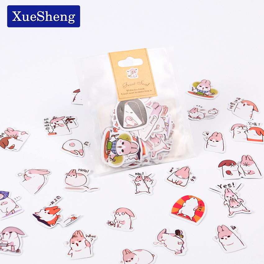 120pcs/3sets Cute Diary Stationery Stickers Pack Post it Chubby Rabbit Series Scrapbooking Sticky Escolar School Supplies never watercolor collection sticky notes set memo pad set post it diary stickers fashion stationery office and school supplies