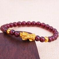 Новинка 999 24 K желтый золотой браслет женский 3D Lucky Pixiu Link два тонкие бусины Красный браслет из граната