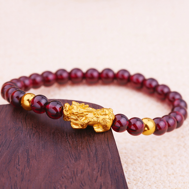 New Real 999 24K Yellow Gold Bracelet Woman's 3D Lucky Pixiu Link Two Fine Beads Red Garnet Chain