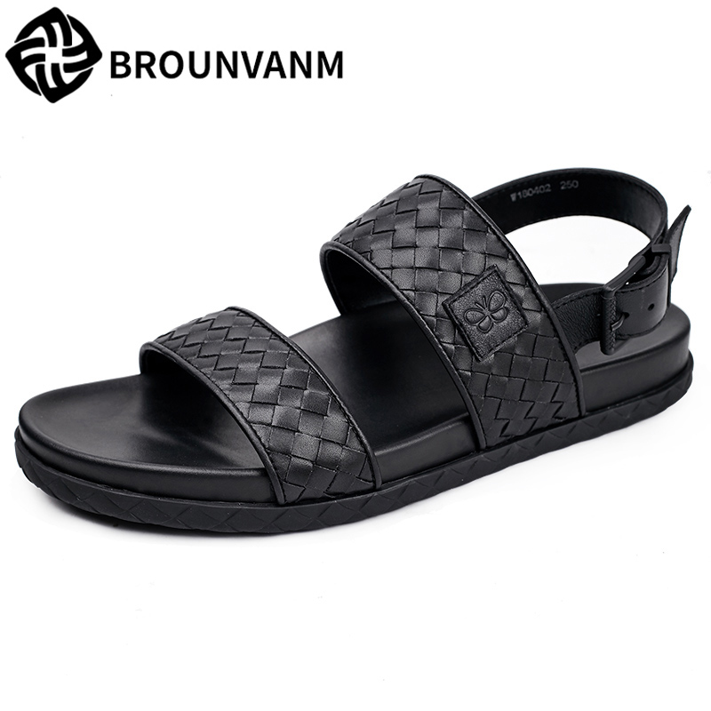 men summer sandals Sneakers Men Slippers Flip Flops Shoes beach outdoor fashion British young mens sandals all-match cowhide