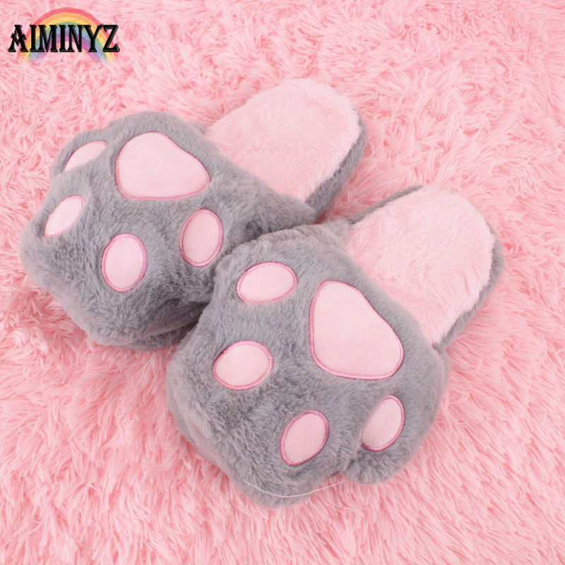 Bears Paws Slippers Indoor Fluffy Shoes Animal Plush Slippers Room Fur Women Slipper Home Slipper Female Home Shoe Soft Chausson flat fur women slippers 2017 fashion leisure open toe women indoor slippers fur high quality soft plush lady furry slippers