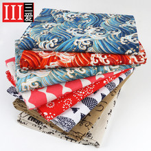 And wind Japanese cotton linen fabric hot door curtain tablecloth pillow clothes handmade DIY thick head
