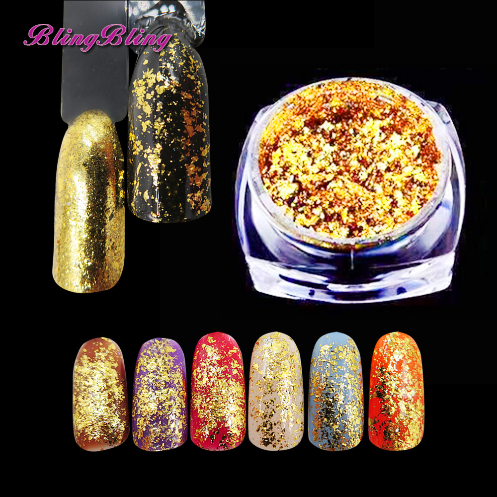 Blingbling Gold Nagel Glitter Flakes Spiegel Pulver Wirkung Chrom ...