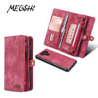 MEGSHI leather detachable case for LG G6 case 2 in 1 leather zipper bag for LG G7 case Credit Card Wallet Case