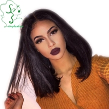 100% Brazilian Virgin Human Hair Bob Straight Wigs Glueless Short Straight Full Lace Wigs Natural Lace Front Wig For Black Woman