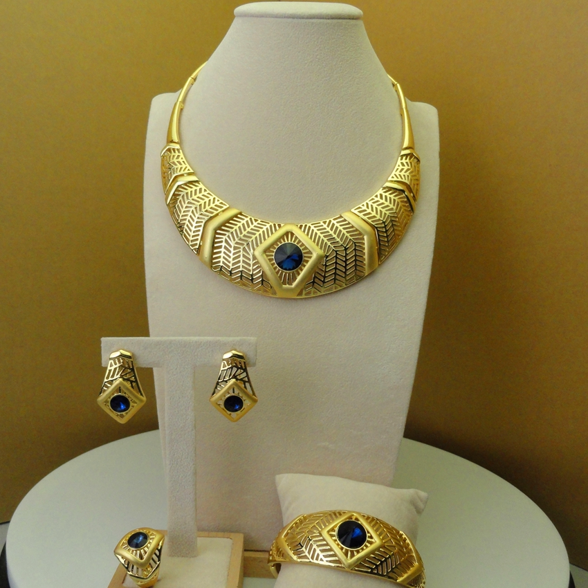Yuminglai 2019 African Luxury Blue Stone Plated Gold and Jewelry Sets Dubai Ladies Jewelry Sets FHK5922