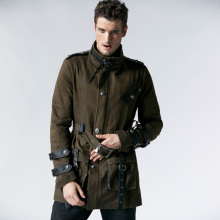 Punk new products personalized pocket patchwork belt coat outerwear jackets foe men