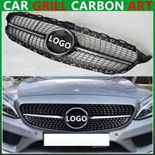 Mercedes C class w205 diamond radiator silvery gloss black grille grill c63 AMG for benz 2015 + sports edition abs material