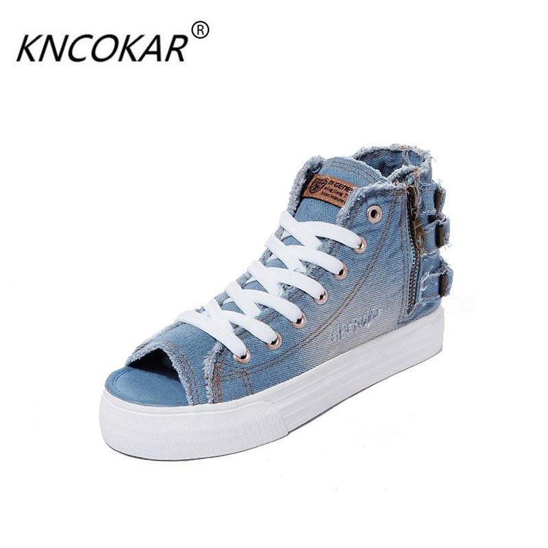 2017 spring and summer retro hole finishing denim zipper lacing open toe canvas shoes breathable female high-top shoes french polishing finishing and restoring using traditional techniques