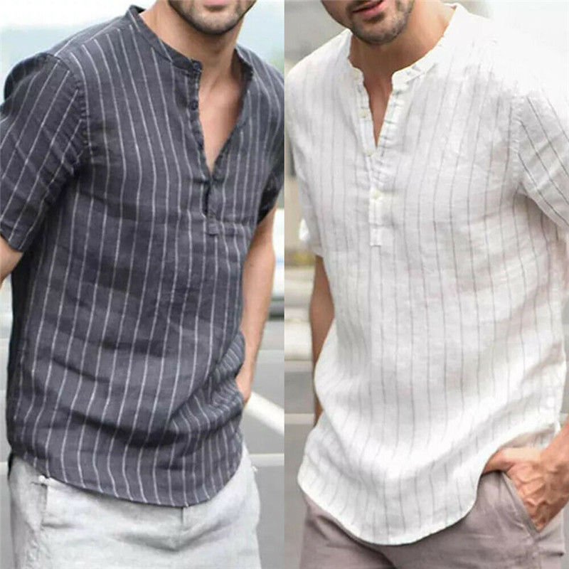 Womail Shirt Men Summer New Fashion Short-sleeved Baggy Cotton Linen Striped Button Beach Shirts Daily Gift High Quality 2019