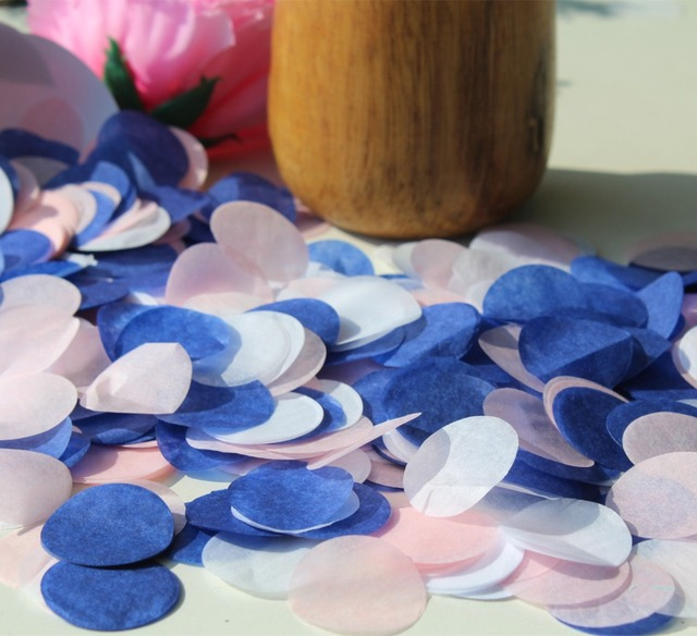blush pink royal blue white wedding marriage party guests throwing ...