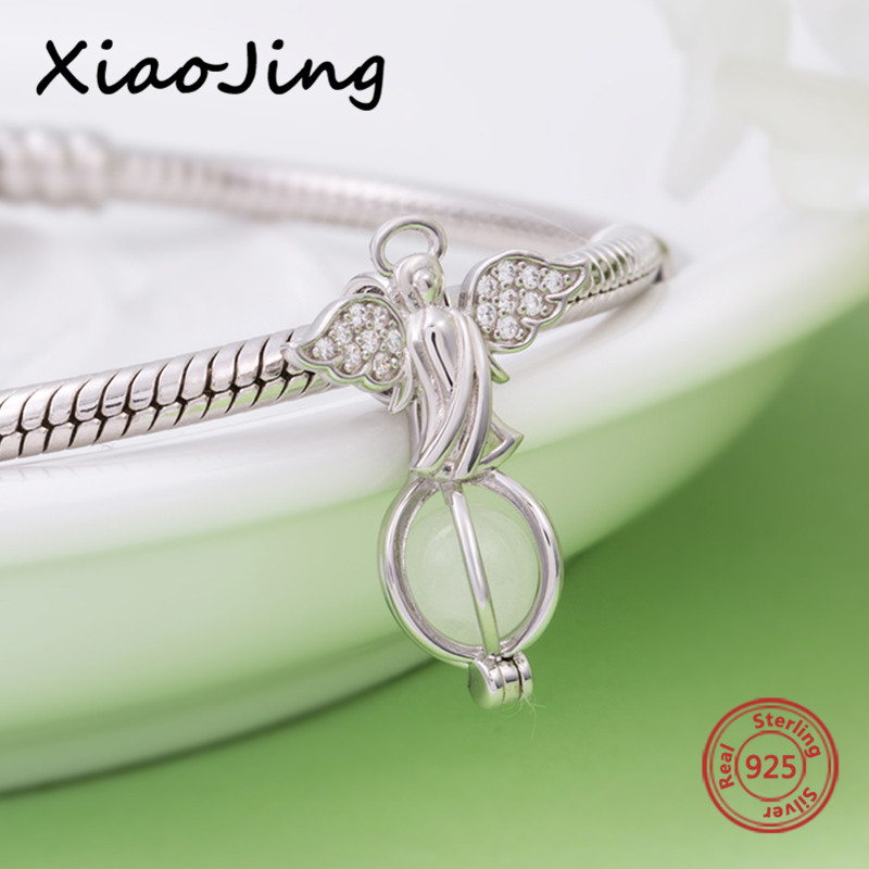 Fit Pandora Charms bracelet Silver 925 original angel glowing pendant beads diy silver jewelry making for women gifts