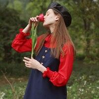 LYNETTE'S CHINOISERIE Spring Autumn Original Design Women French Maiden Vintage Chiffon Blouses Red