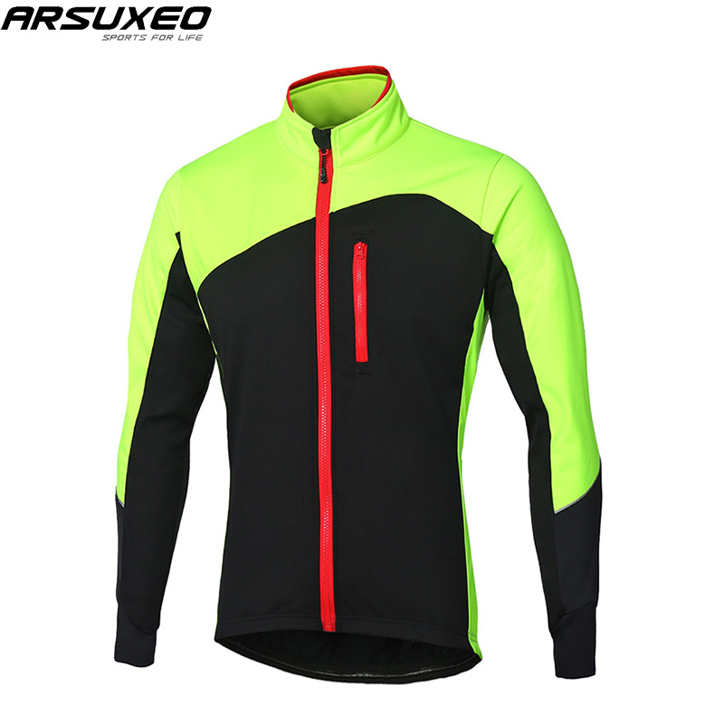 ARSUXEO 2018 NEW Cycling Jacket Winter Windbreaker Thermal Fleece Warm Up MTB Bike Jacket Reflective Bicycle Cycling Coat цена