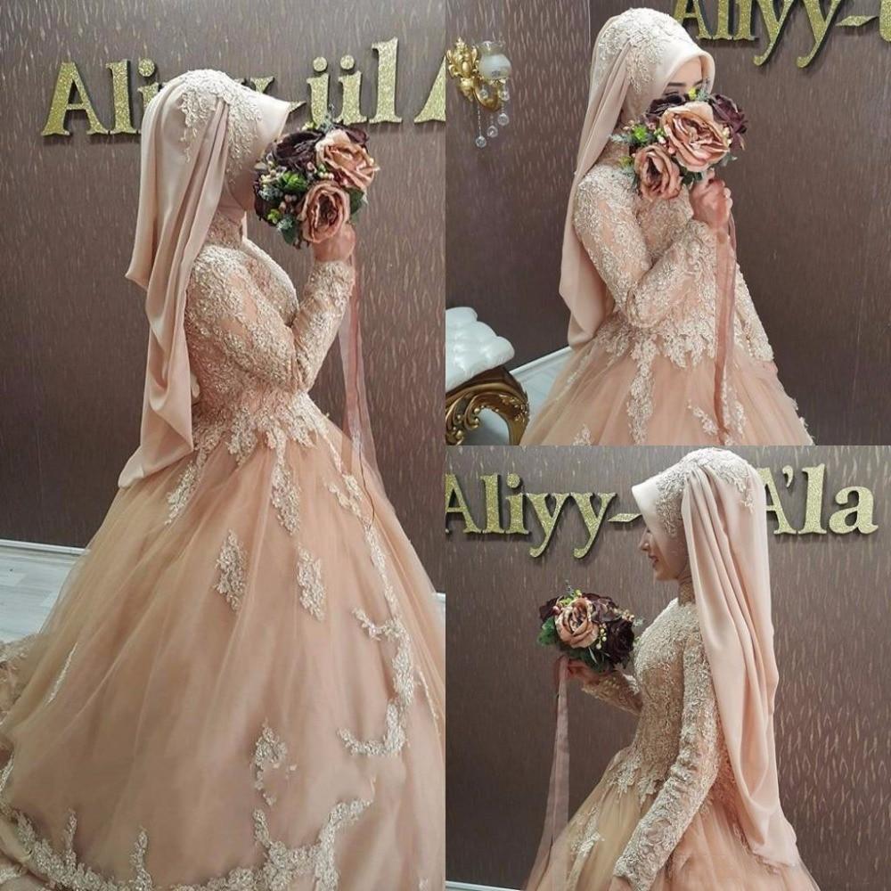 2017 Arabic Long Sleeve Champagne Muslim Wedding Dresses Turkey Caftan Ball Gown Turkish Islamic Bridal Gowns With Hijab Veil