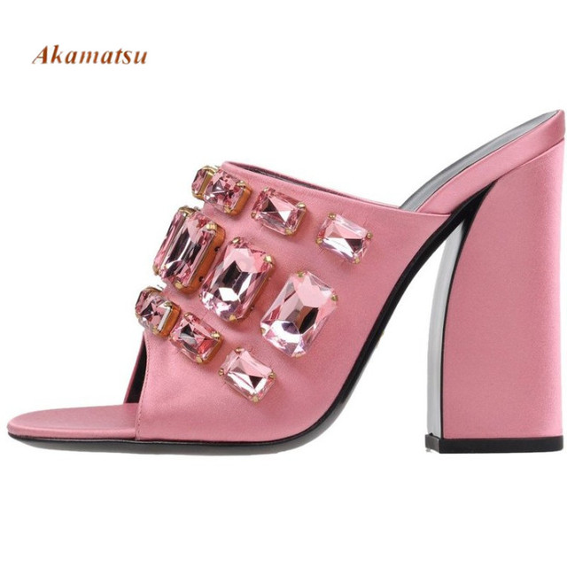 Akamatsu Suede Summer High Chunky Heel Open Toe Women Mules Pink Black Crystal Studded Outdoor Fashion Celebrity Slippers