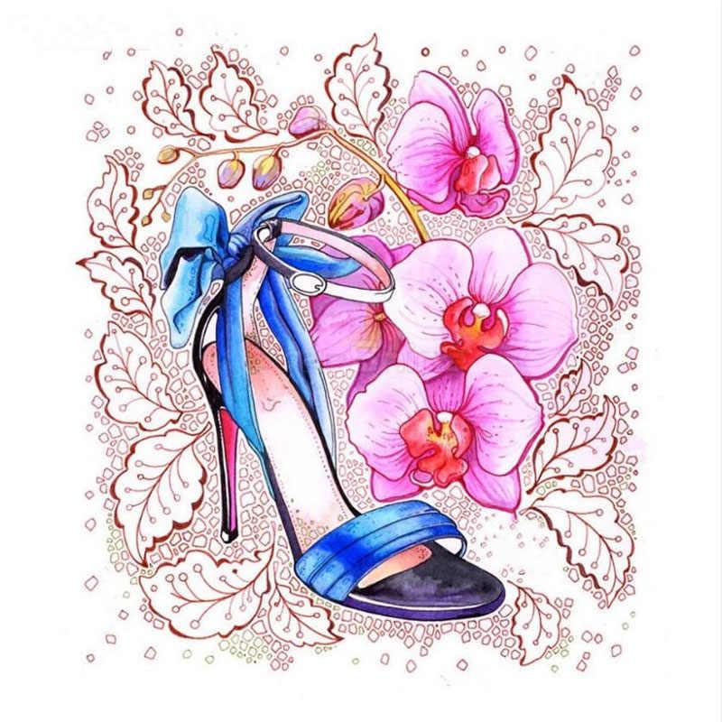 Ev Dekor 5D Elmas Mozaik Yüksek topuklu ayakkabılar Elmas Boyama Rhinestones Çapraz Dikiş Çiçekler Elmas Nakış Duvar Dekor