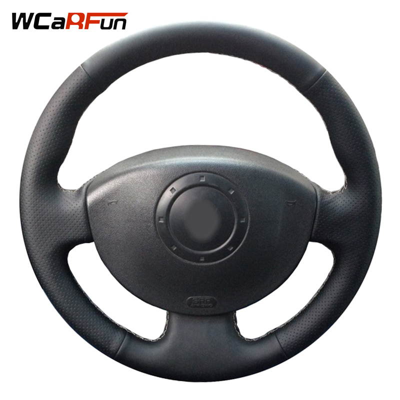 WCaRFun Hand Genäht Schwarz Leder Auto Lenkradabdeckung für Renault Megane 2 2003-2008 Kangoo 2008 Scenic 2 2003-2009