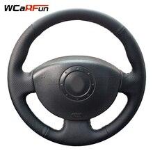 WCaRFun ручная прошитая черная кожаная крышка рулевого колеса автомобиля для Renault Megane 2 2003-2008 Kangoo 2008 Scenic 2 2003-2009