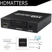 Scart HDMI converter HDMI EU Scart to HDMI converter scaler digital coaxial&stereo audio output with power adapter