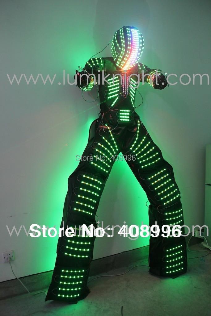 led robot costume with digital led helmet illuminated