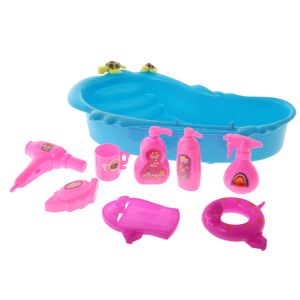Hot 9Pcs Dollhouse Miniature Bathtub & Bath Supplies Set for Barbie Bathroom Accessories Toys Children Creative Birthday Gift