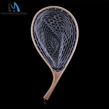 Fly Fishing Landing Net Rubber Trout Catch and Release Net & Curve Wood Handle