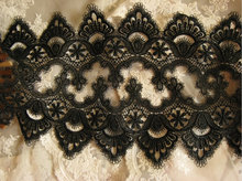 Black Lace Trim, black venise lace, antique lace trim, scalloped ;ace 10 yards
