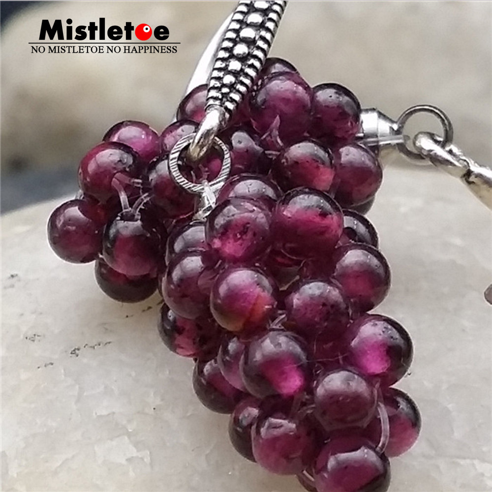 Authentic 925 Sterling Silver Vintage All Natural Stone Grape Drop Earrings For Women Jewelry Fruit
