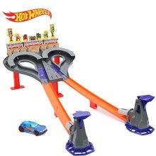 Original Hot Wheels 2-Lane Challenge Super Speed Blastway Gift Set Hotwheels Move Tracks Sport Car Educational Truck Toy for Boy