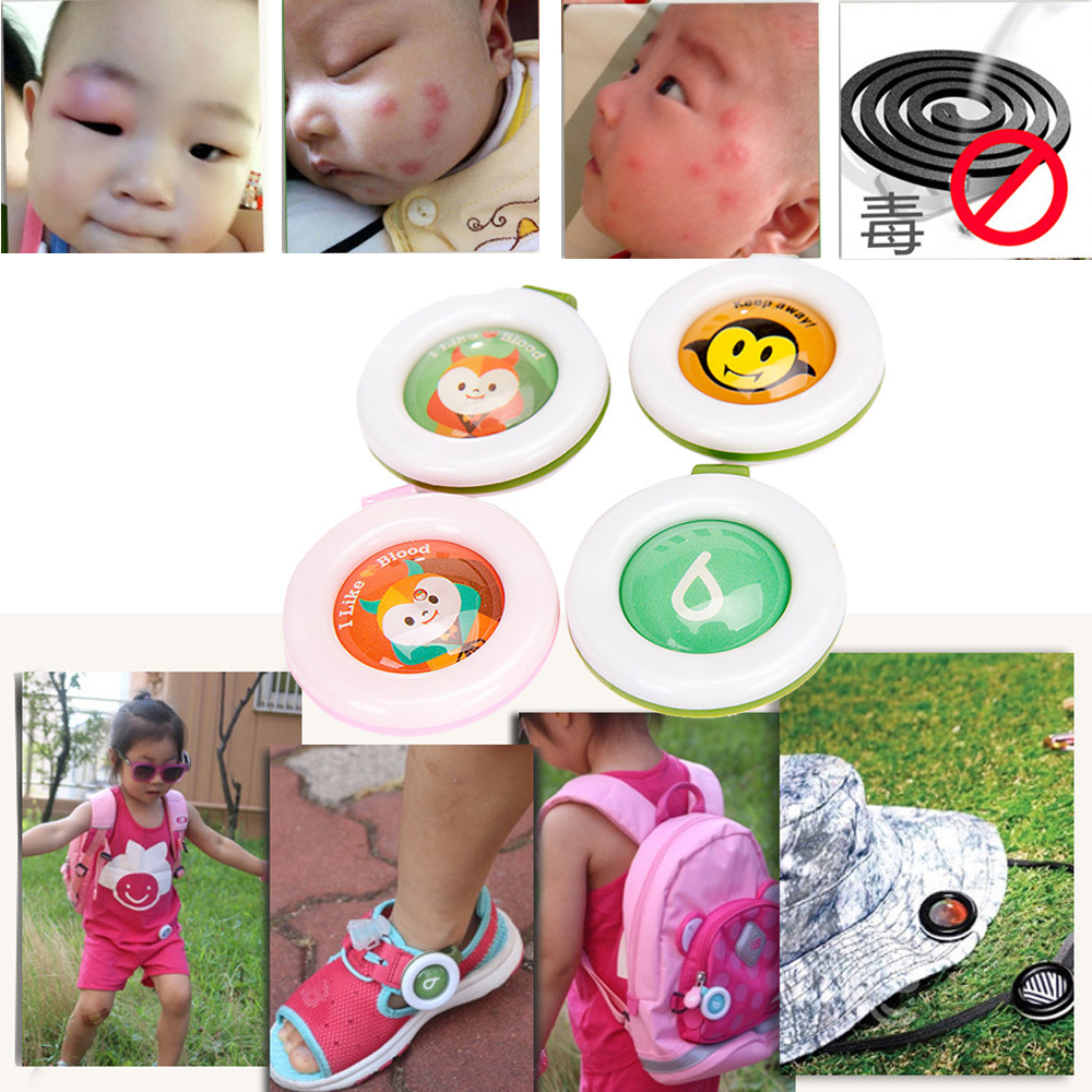 4pc Random Color Mosquito Repellent Bracelets Buttons Mini Lightweight Cute Shape Driving Mosquito Baby Children Sleeping