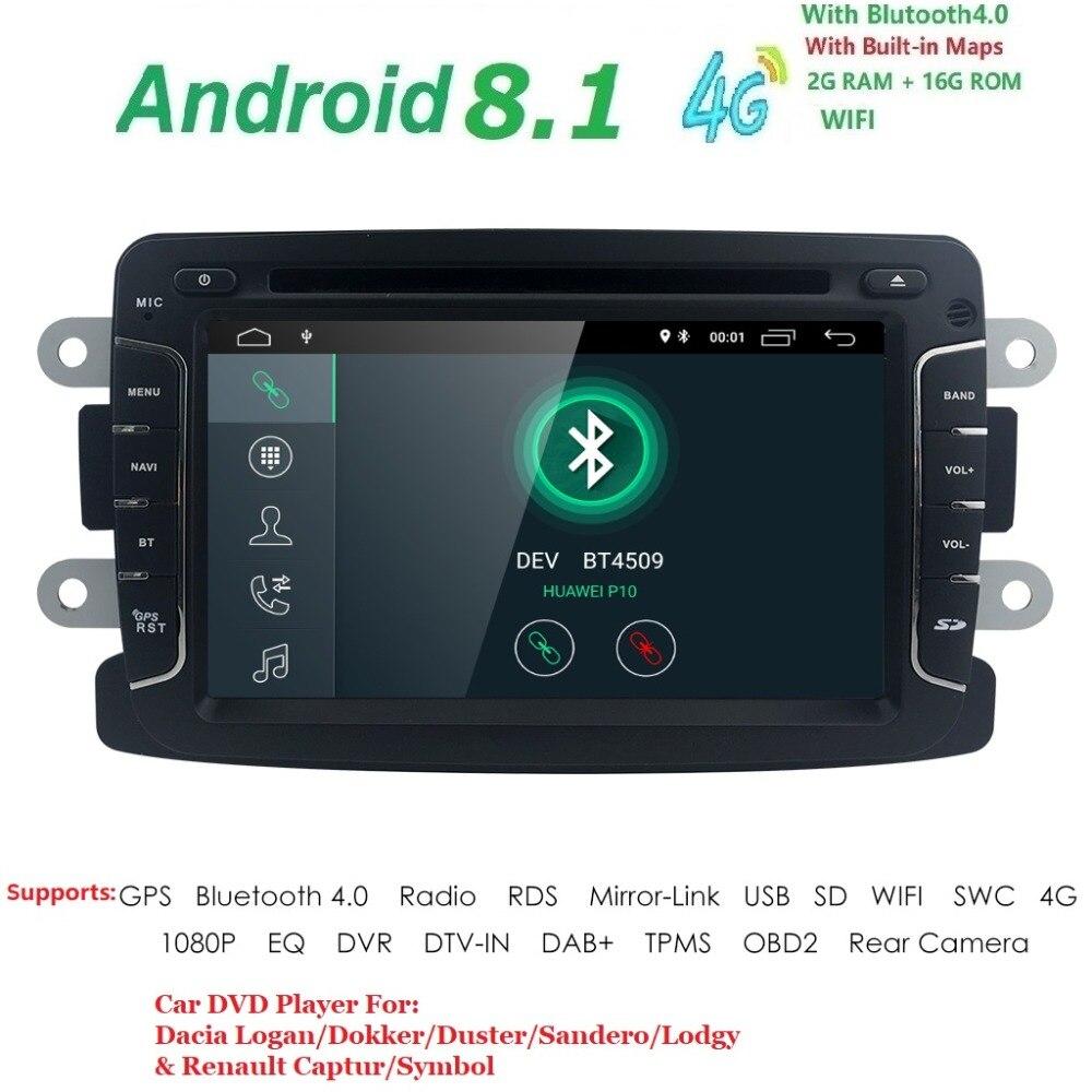 Android8.1 1DIN Car DVD For RENAULT DUSTER LOGAN LADA XRAY SYMBOL DACIA Kaptur DOKKER DVD Car GPS multimedia RDS DVR SWC DAB DTV