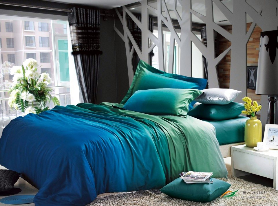 Gradient Green Blue 100 Cotton Bedding Set King Queen